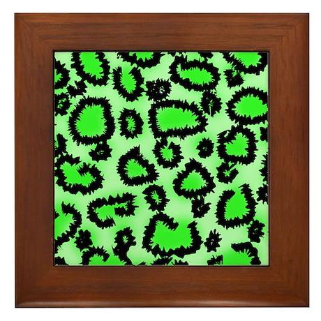 Bright green animal print Framed Tile