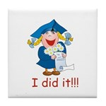 I Did It! (girl) Tile Coaster