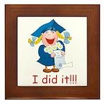 I Did It! (girl) Framed Tile