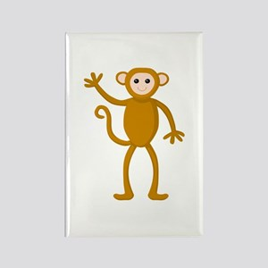 Cute Waving Monkey Rectangle Magnet