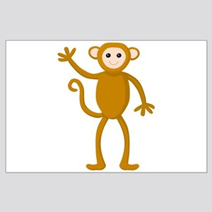 Cute Waving Monkey Large Poster