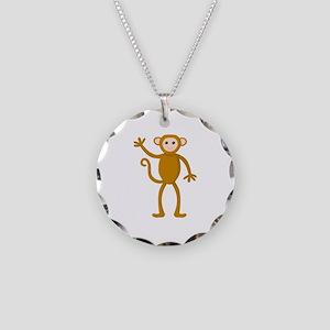 Cute Waving Monkey Necklace Circle Charm