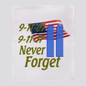 9-11 / Flag / Never Forget Throw Blanket