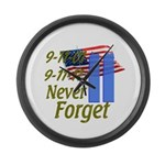 9-11 / Flag / Never Forget Large Wall Clock