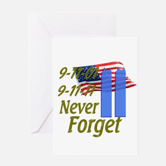 9-11 / Flag / Never Forget Greeting Card