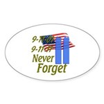 9-11 / Flag / Never Forget Sticker (Oval 10 pk)