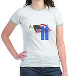 9-11 with Flag, Buildings Jr. Ringer T-Shirt