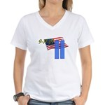 9-11 with Flag, Buildings Women's V-Neck T-Shirt