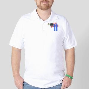 9-11 with Flag, Buildings Golf Shirt