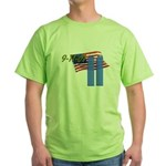 9-11 with Flag, Buildings Green T-Shirt