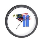 9-11 with Flag, Buildings Wall Clock