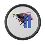 9-11 with Flag, Buildings Large Wall Clock