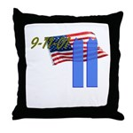 9-11 with Flag, Buildings Throw Pillow