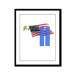 9-11 with Flag, Buildings Framed Panel Print