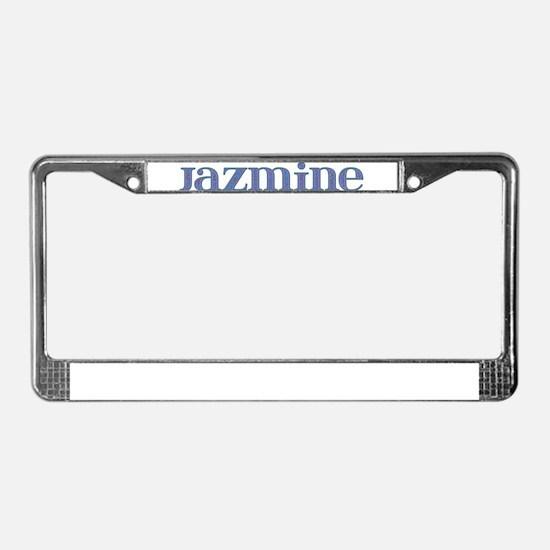 Jazmine Blue Glass License Plate Frame
