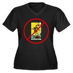 No Fools! Women's Plus Size V-Neck Dark T-Shirt