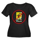 No Fools! Women's Plus Size Scoop Neck Dark T-Shir
