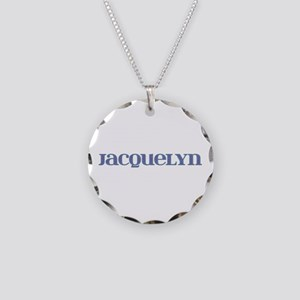 Jacquelyn Blue Glass Necklace Circle Charm