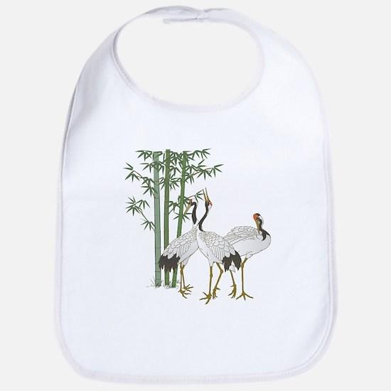 Crane & bamboo Cotton Baby Bib
