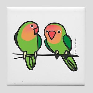 Peach-Faced Lovebirds Tile Coaster