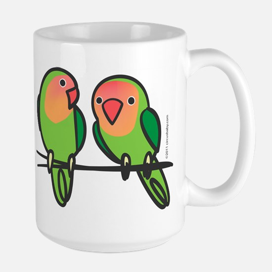 Peach-Faced Lovebirds Large Mug