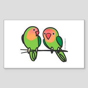 Peach-Faced Lovebirds Sticker (Rectangle)