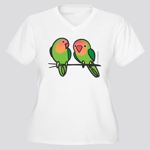 Peach-Faced Lovebirds Women's Plus Size V-Neck T-S