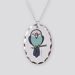 Blue Parakeet Necklace Oval Charm