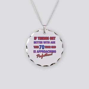 Funny 70th Birthdy designs Necklace Circle Charm
