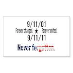 9-11 / United Never Forgotten Sticker (Rectangle 5