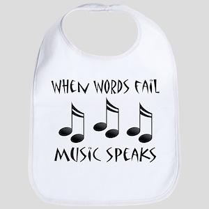 words fail music speaks ne notes Baby Bib