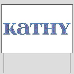 Kathy Blue Glass Yard Sign