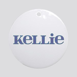 Kellie Blue Glass Round Ornament