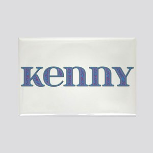Kenny Blue Glass Rectangle Magnet