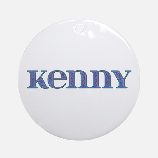 Kenny Blue Glass Round Ornament