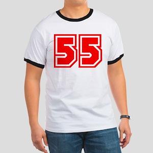 Varsity Uniform Number 55 (Red) Ringer T