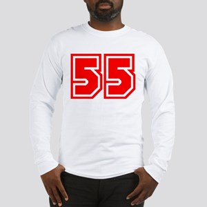 Varsity Uniform Number 55 (Red) Long Sleeve T-Shir