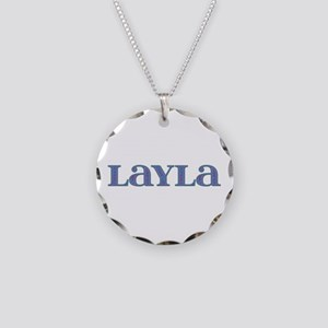 Layla Blue Glass Necklace Circle Charm