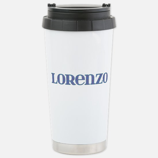 Lorenzo Blue Glass Stainless Steel Travel Mug