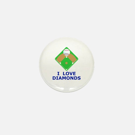 Baseball, I Love Diamonds Mini Button