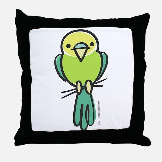 Yellow/Green Parakeet Throw Pillow