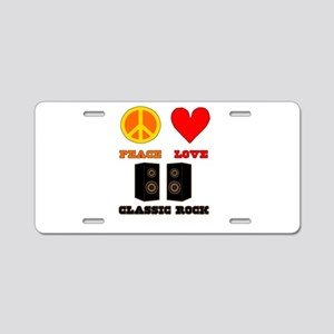 Peace Love Classic Rock Aluminum License Plate