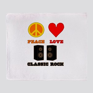 Peace Love Classic Rock Throw Blanket