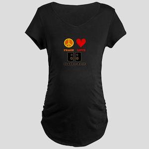 Peace Love Classic Rock Maternity Dark T-Shirt