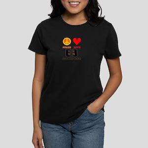 Peace Love Classic Rock Women's Dark T-Shirt
