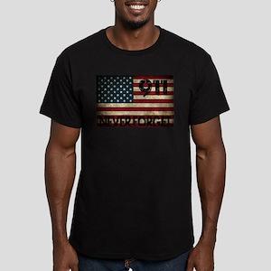 911 Grunge Flag Men's Fitted T-Shirt (dark)