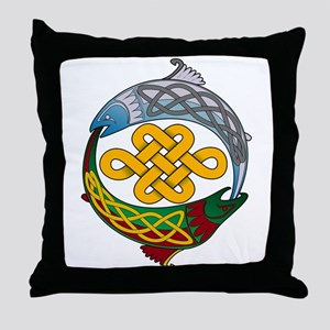 Celtic Salmon Throw Pillow
