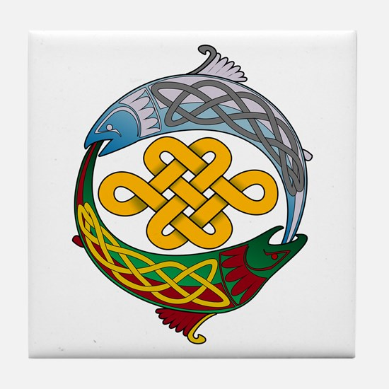 Celtic Salmon Tile Coaster
