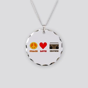 Peace Love Crunk Necklace Circle Charm