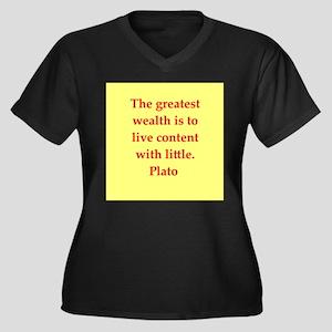 Wisdom of Plato Women's Plus Size V-Neck Dark T-Sh